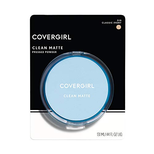 - COVERGIRL Clean Matte Pressed Powder, 1 Container (0.35 oz), Classic Ivory Warm Tone, Oil Control Face Powder, Fragrance Free (packaging may vary)
