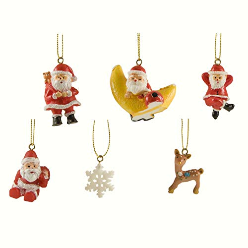 (Cici & Jimmy's Miniature Figurine Decoration Fairy Garden Statue Merry Christmas Ornament Set 6 PC Snowflake Reindeer Santa)