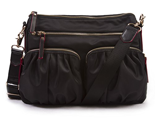 korvara-nylon-crossbody-bag-black-premium-lightweight-top-zip-handbag