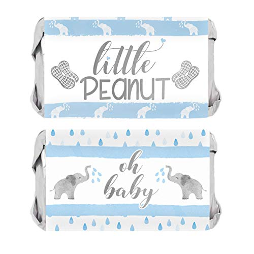 - Blue Elephant Baby Shower Mini Candy Bar Wrappers | 54 Stickers