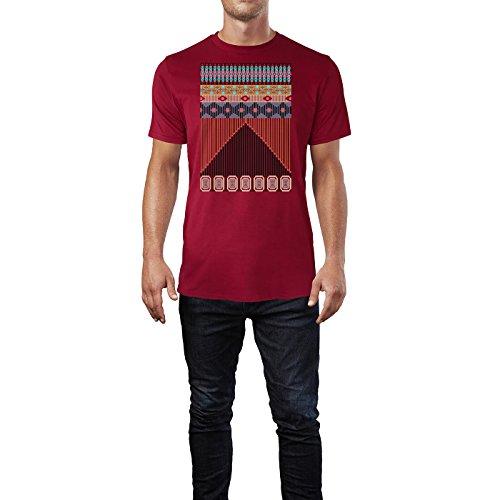 SINUS ART ® Bunter Azteken Print Herren T-Shirts in Independence Rot Fun Shirt mit tollen Aufdruck
