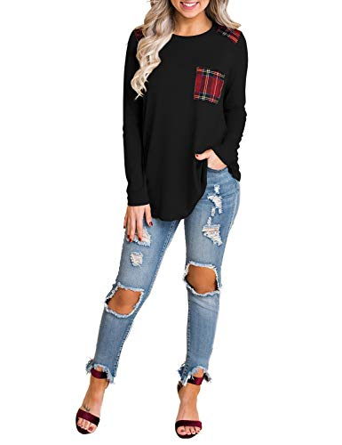 Blooming Jelly Womens Long Sleeve Elbow Patch Shirt Plaid Color Block Tops Pocket Knit Tee (X-Large, Black)