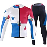 CHINEIN Men's Cycling Jersey Long Sleeve with 3 Rear Pockets Suit Panama Flag National Emblem