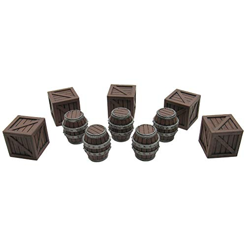 Crates and Barrels, Terrain Scenery for Tabletop 32mm Miniatures Wargame, 3D Printed and Paintable, EnderToys from EnderToys