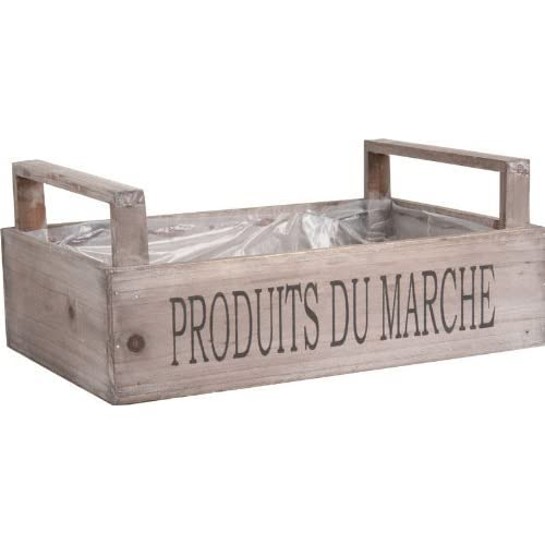 Brown Wood Storage Box Crate Rustic French Market Fruit Vegetable Trug Vintage Farm Shop Style Wooden Container