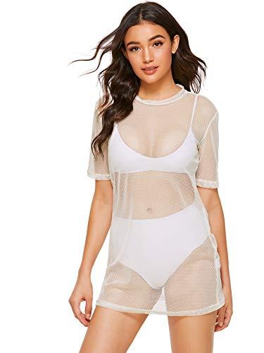 White T-shirt Club (MAKEMECHIC Women's Beach Cover Ups Short Sleeve See Through Sheer Mesh T Shirt Dress White XS)