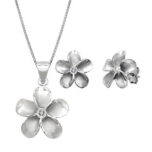 Pendant Mm 15 Plumeria (VIRGIN SHINE Sterling Silver Plumeria CZ Pendant Necklace & Plumeria Stud CZ Earrings Set, 18