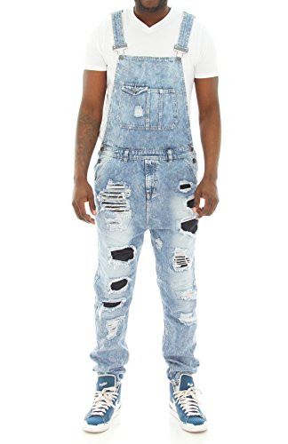 Imperious Men's Rip and Repair Denim Overall Jogger Pants-Light Blue-L