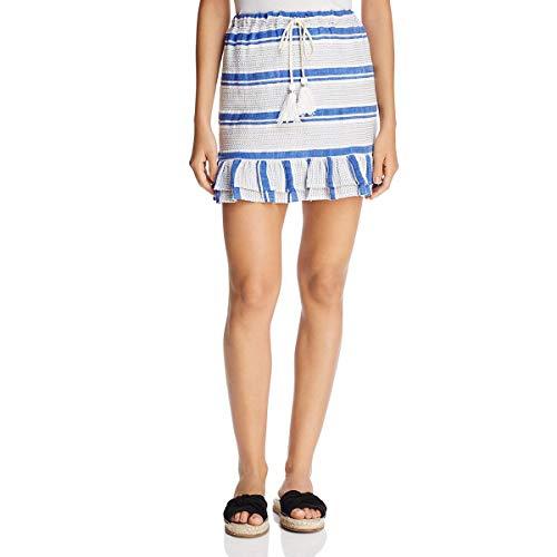 Lost + Wander Womens Bora Bora Peplum Embroidered Mini Skirt Blue M