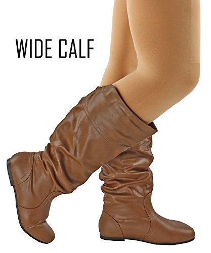 RF ROOM OF FASHION Frauen weiche Vegan Slouchy flach bis niedrige Ferse kniehohe Stiefel - mit versteckter Tasche - mittleres und breites Kalb Tan Pu - Breites Kalb