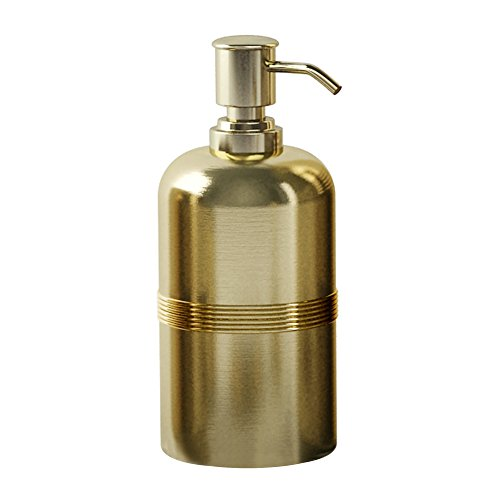 (nu steel JW6H Jewel Collection Lotion Pump, Dispenser with Refillable Bottle, Ideal for Liquid Soaps, Rich Gold Finish)