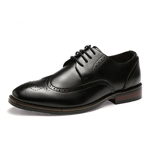 BTDREAM Mens Classic Office Lace Up Pointed-Toe Oxfords Brogue Dress Leather Shoes