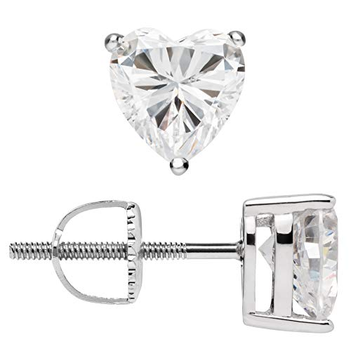 (14K Solid White Gold Earrings | Heart Cut Cubic Zirconia Stud | Screw Back Posts | 1.5 CTW | With Gift Box)