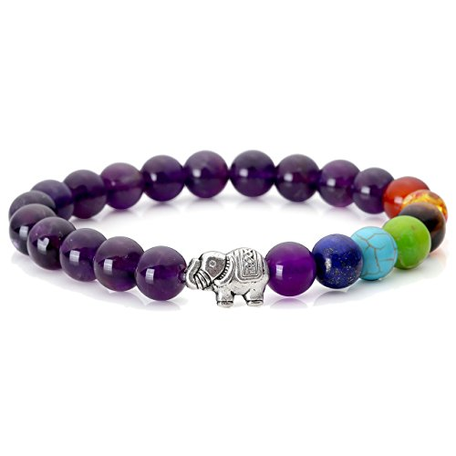 (JOVIVI 7 Chakras Natural Amethyst Stone Yoga Balancing Reiki Healing Elephant Lucky Charm Bracelet)
