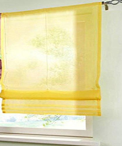 1pcs Liftable Roman Shades Rod Pocket LivebyCare Sheer Balcony Window Curtain Voile Valance Drape Drapery Panels for Family Room Decor Decorative