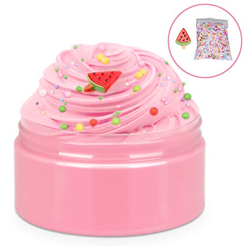 iHoryson Scented Fluffy Butter Slime, Slime Cotton mud, Soft and Non-Sticky Kids Slime for Girls Boys, Ideal Stress Relief Slime Toys, Include 1 Pack Colorful Foam Balls, Adorable Watermelon Charm