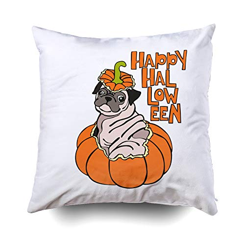 Musesh Dog Puppy Pug Halloween Pumpkin Isolated Object Cushions Case Throw Pillow Cover for Sofa Home Decorative Pillowslip Gift Ideas Household Pillowcase Zippered Pillow Covers 16X16Inch -