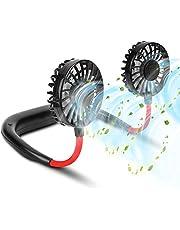مروحة رياضية محمولة يمكن تعليقها على الرقبة دون الحاجة لامساكها، تعمل ببطارية وقابلة لاعادة الشحن مع 3 مستويات للتبريد وتصميم مشابه لسماعات الراس