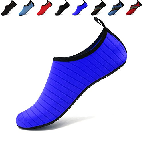 ANLUKE Wassersport Barfuß Schuhe Quick-Dry Aqua Yoga Socken Slip-On Für Männer Frauen Kinder F Blau / Solide
