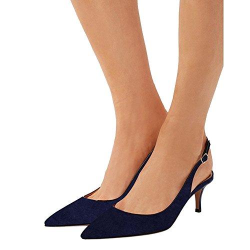 Blue Faux Walk Sandalen Daily Sumer Heels Kitten Damen Schuhe Slingbacks MERUMOTE 4vAfqwp1aF