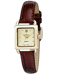 Peugeot Womens 14K Gold Plated Small Square Skinny Brown Glossy Leather Dress Watch 3034BR