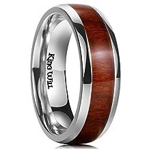 King Will 7MM Titanium Ring Koa Wood Inlay Comfort Fit Wedding Band For Men Women