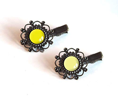 2 Hair clips, 12 mm cabochon, yellow, straw yellow and pale yellow tones, bronze ()