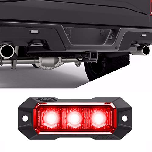 SpeedTech Lights Z-3 9W LED Strobe Light for Police Cars, Construction Trucks, Service Vehicles, Plows, Emergency Vehicles. Surface Mount Grille Flashing Hazard Beacon Light Red/Red