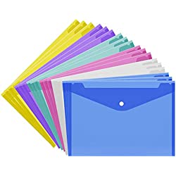 Set of 18 Document Folder Plastic Envelopes with Snap Button Transparent Poly Envelops Waterproof Project Envelope Folder, US Letter/A4 Size-6 Colors for School,Home,Office Organization