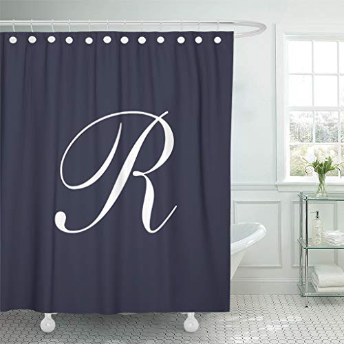 (Semtomn Shower Curtain Monogram Letter R Navy Blue Rachel Rebecca Rachael Rebekah 66