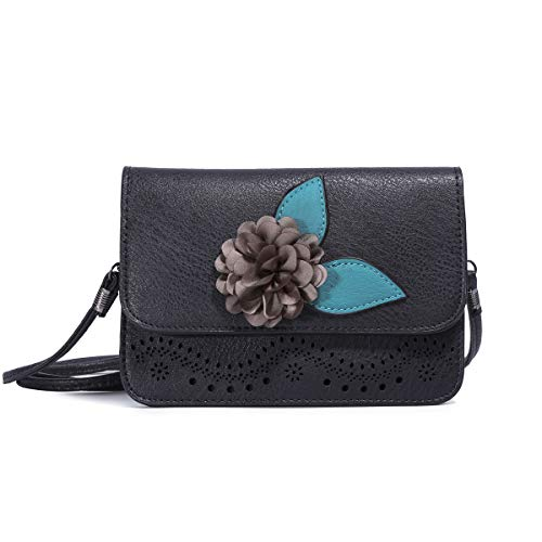 Ladies Flap Black Crossbody Bags for Women Cell Phone Purse Smartphone Wallet Bags with Shoulder Strap