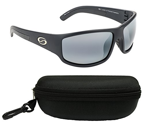Strike King SG-S1171-CS S11 Optics Polarized SG Caddo Bundle, Matte Black Frame with Gray Lens, with Black Case