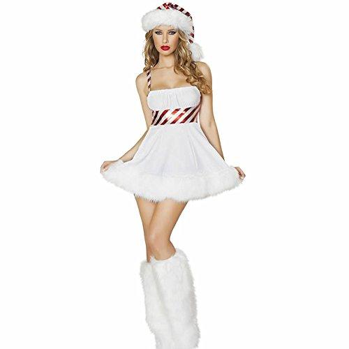 ZNFQC Women Snowman Christmas Costume Lace-Up Strapless Dress (Ladies Snowman Costume)