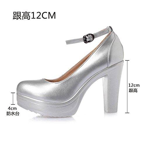 rotonda scarpe bianco impermeabile scanalata spessore i dello di alti 12cm con di solo T cinghia argento 36 calzature alta con testa donna tacchi Taiwan con calzature Cuoio modello IPEwq5nax