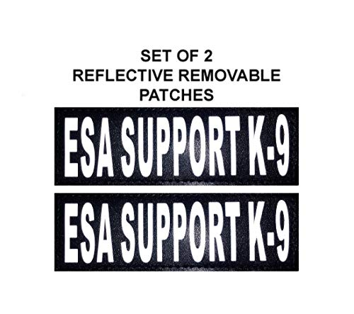 Doggie Stylz Set of 2 Reflective ESA Support K-9 Removable Patches for Service Dog Harnesses & Vests.