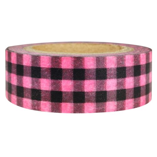 Wrapables Plaid Pattern Japanese Washi Masking Tape, Pink and Black (Pink And Black Plaid)