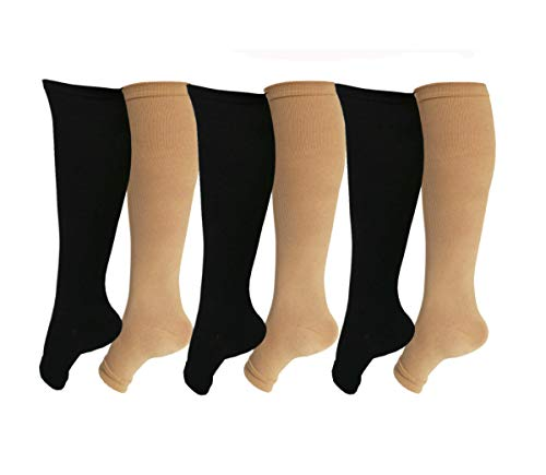 (SKUNDU Open Toe Toeless Compression Socks 6 Pairs for Women Men 15-20 mmHg Calf Support Compression Sleeve)