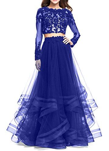 Abiballkleider 2018 Kleider Abendkleider Lang Spitze Neu Brau La mia Zwei Quicenera Royal teilig Langarm Blau Abschlussballkleider qwTCnav7EW