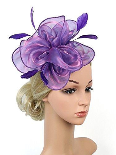 Zivyes Fascinators Hat for Women Tea Party Headband Kentucky Derby Wedding Cocktail Flower Mesh Feathers Hair (Flower Hats For Halloween)