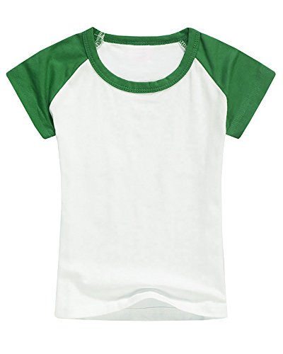 Boys' Baseball Tee Girls' Raglan Short Sleeve Jersey T Shirts Unisex Baby Kid Tops Green ()