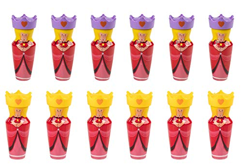 Bubble Party Favors - 12-Pack Pink Princess Queen Bubbles Bottle, Blow Wand Toy Party Supplies and Gifts for Kids, Teens, Adults, Ideal for Birthdays, Parties, Celebrations, 2.4-Ounce -
