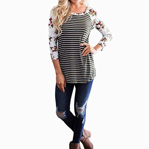 high-quality Women T-Shirt,Saingace Fashion Floral Stripe Splicing O-Neck T-Shirt Casual Tops