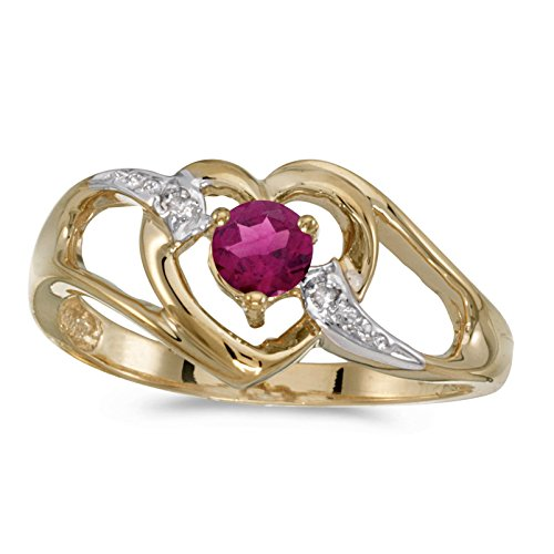 FB Jewels 14k Yellow Gold Genuine Red Birthstone Solitaire Round Rhodolite Garnet And Diamond Heart Wedding Engagement Statement Ring - Size 4.5 (1/4 Cttw.) ()
