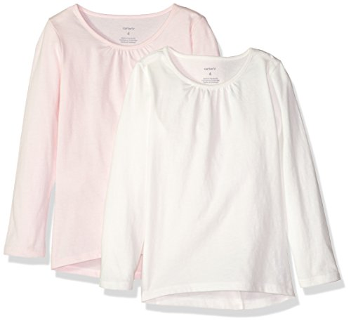 Carter's Girls' Big 2-Pack Long-Sleeve Tee, White/Light Pink, ()