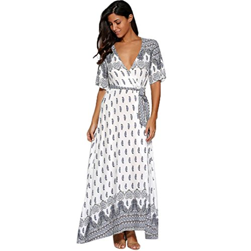 Caopixx Women Dress, Deep V Short Sleeve Dresses Flower Printed Belt Casual Long Dress Summer Beach Dress (Asia Size L, White) (Button Dress Strap Belted)