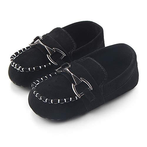 Toddler Black Nubuck Footwear - Greceen Baby Nubuck Vamp Soft Sole Toddler Loafers Boat Shoes Crib Shoes(106 0-6 Months Black)