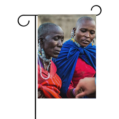 Josid Garden Flag Banner Two African Woman Looking On Persons Bracelet 12x18 inches Double Sided