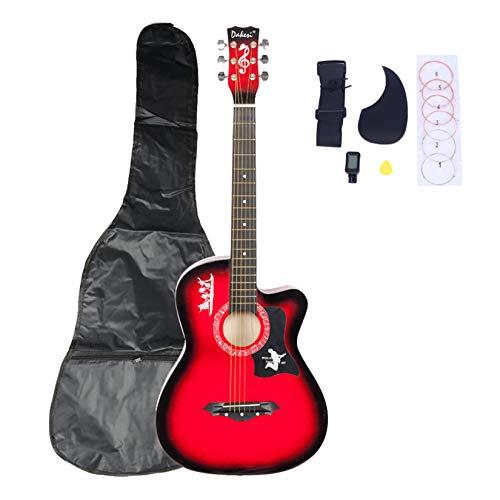 유행 스타터 첫 기타 BASSWOOD 기타 가방 스트랩 추천 LCD 튜너 PICKGUARD DK-38C 문자열 세트 레드