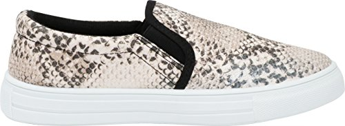 Slip Sole White Snake on Select brown Flatform Toe Women's Fashion Pu Cambridge Sneaker Round Beige HwI0T