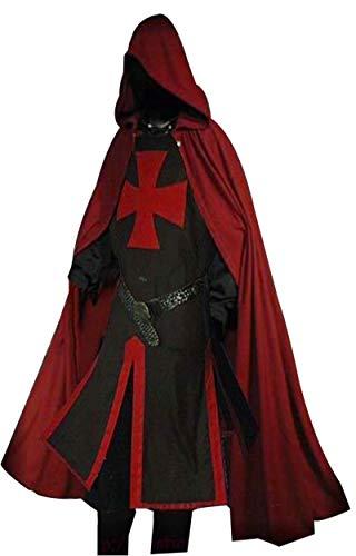 Medieval Knight Tunic Maltese Cross Cap Cloak Surcoat Reenactment LARP SCA ()